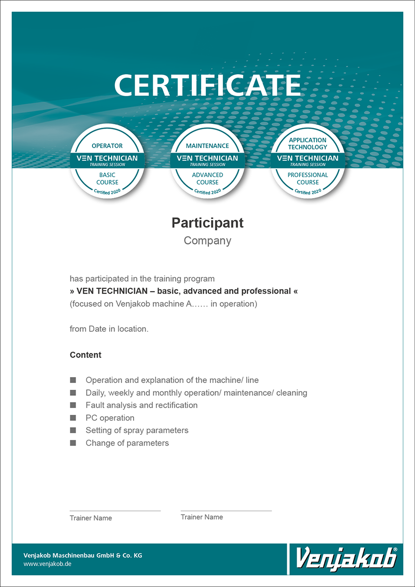 Venjakob Certificat