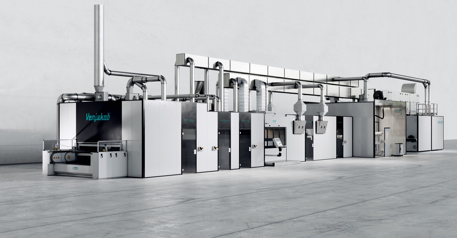 Coating line for plastic components with modular design, individually adapted
